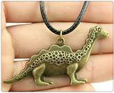 Nobrand No brand fashion antique bronze color 63*31mm Dinosaur pendant leather chain necklace