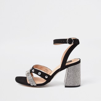 River Island Womens Black wide fit studded block heel sandal