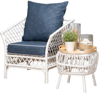 Room & Co Borocay Armchair White With Navy Cushions