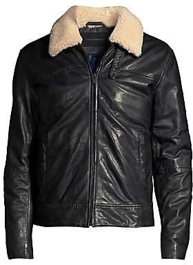 John Varvatos Men's Sheldon Shearling Collar Leather Jacket