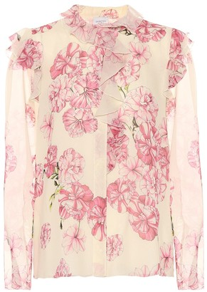 Giambattista Valli Floral-printed silk top