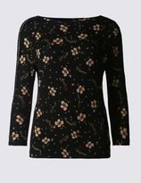Marks and Spencer Floral Lace 3/4 Sleeve Jersey Top