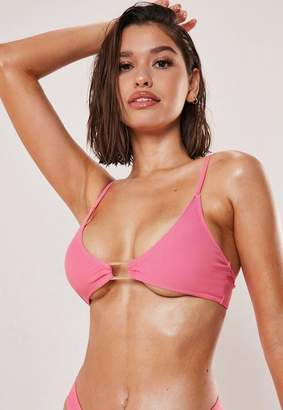 Missguided Pink Buckle Super Scoop Bikini Top