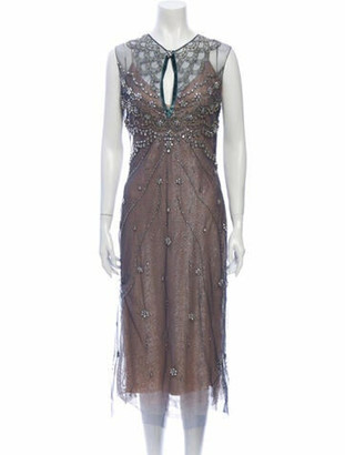 Reem Acra V-Neck Long Dress w/ Tags Blue