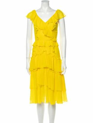 Marissa Webb V-Neck Midi Length Dress w/ Tags Yellow