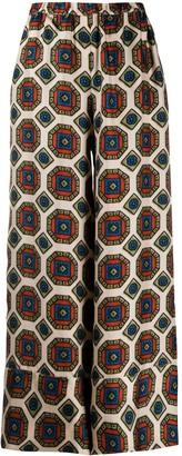 Pierre Louis Mascia Silk Geometric Wide-Leg Trousers