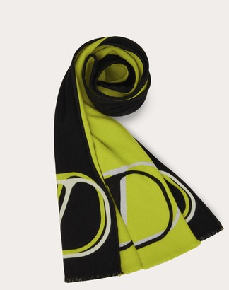 Valentino Garavani Uomo Vlogo Signature Wool And Silk Scarf Man Black/neon Green Wool 96%, Silk 4% OneSize