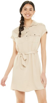 So Juniors' Short Sleeve Utility Dress with Tie