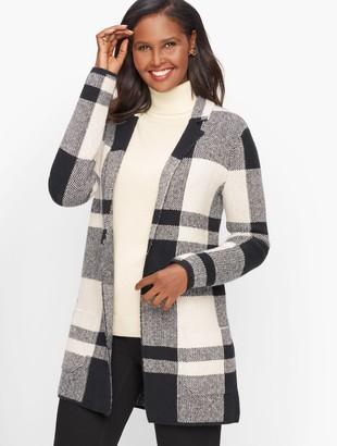 Talbots Plaid Cotton Blend Sweater Jacket