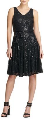 Donna Karan Sequined Fit-&-Flare Dress
