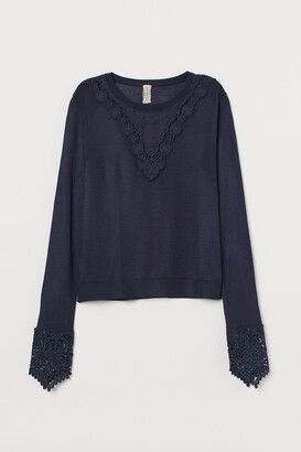 H&M Lace-trimmed Fine-knit Sweater
