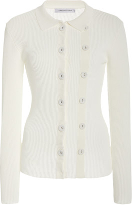 CHRISTOPHER ESBER Buttoned-Detailed Ribbed-Knit Cardigan