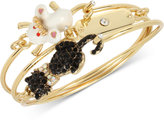 Betsey Johnson Gold-Tone 3-Pc. Set Cat and Mouse Wire Bangle Bracelets
