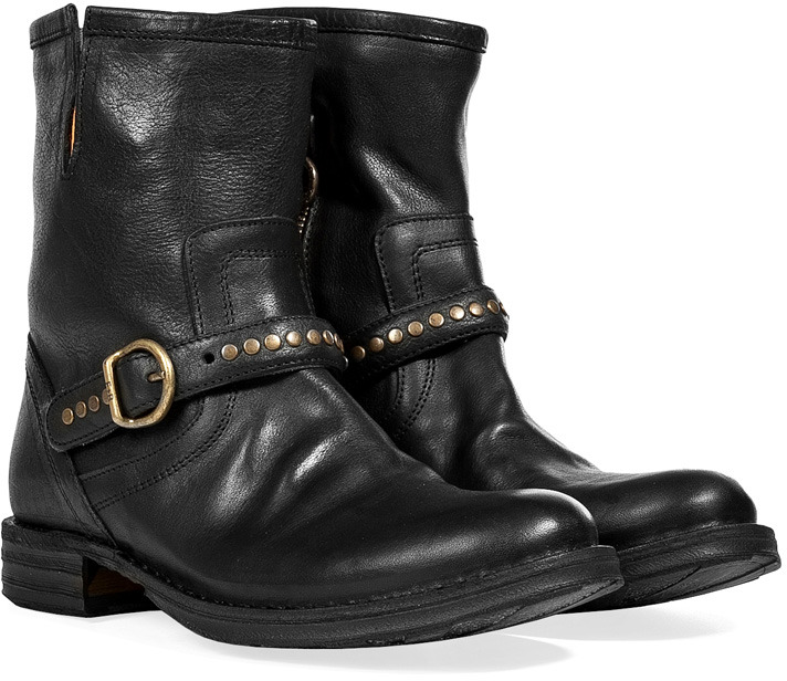 Fiorentini+Baker Fiorentini & Baker Black Leather Studded Strap Elis Ankle Boots