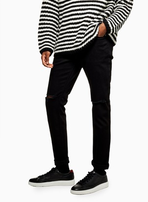 Topman Black Double Ripped Stretch Skinny Jeans