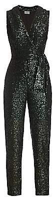 Milly Women's Stretch Micro Sequins Tie-Blazer Jumpsuit