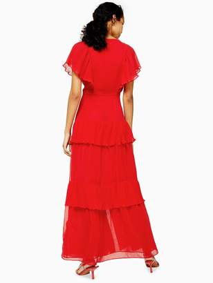 Topshop Pleated Maxi Dress - Red