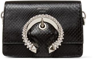 Jimmy Choo MADELINE SHOULDER BAG/S Black Shiny Python Shoulder Bag with Crystal Buckle