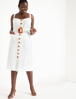 ELOQUII Button Front Belted Dress