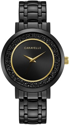 Caravelle Women's Black IP Stainless Crystal Watch