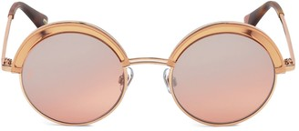 Web 51MM Pink & Rose Gold Round Sunglasses