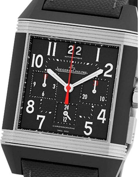 Jaeger-LeCoultre Jaeger LeCoultre Reverso Squadra GMT Stainless Steel & Black Rubber Chronograph 41mm Strap Watch