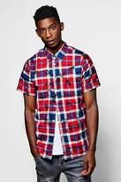 boohoo Short Sleeve Over Dye Check Shirt red