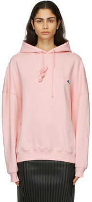 we11done Pink Embroidered Logo Hoodie