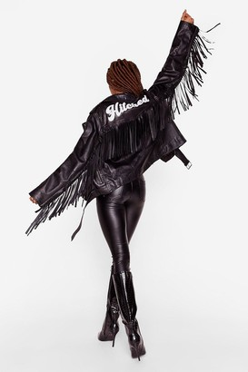 Nasty Gal Womens Just Hitched Bridal Leather Fringe Jacket - Black - S
