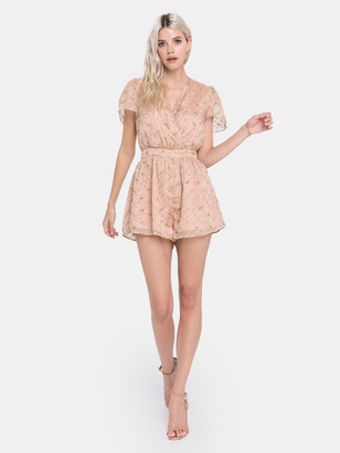Endless Rose Flower Embroidered Ruffle Sleeve Romper