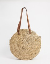 Asos Design DESIGN natural straw circle shopper bag