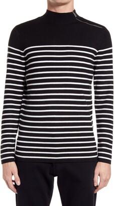 Karl Lagerfeld Paris Stripe Zip Mock Neck Sweater