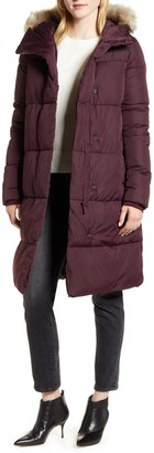 Rachel Parcell Hooded Puffer Coat with Faux Fur Trim
