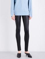 Hudson Barbara skinny high-rise leather jeans