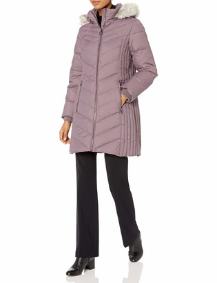 Anne Klein Women's Zip Front Parka with Faux Fur Hood