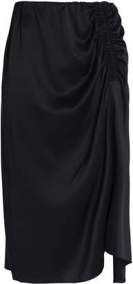 Theory Gathered Silk-blend Satin Skirt