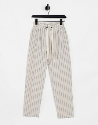 NATIVE YOUTH pinstripe wide leg pants in ivory and navy