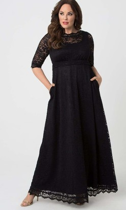 Kiyonna Leona Lace Gown Dress in Black Size 0X