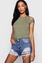 Boohoo Megan Strappy Shoulder Detail T-Shirt