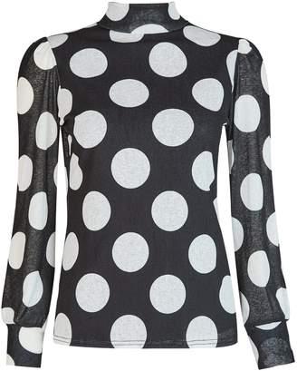Dorothy Perkins Womens Black Spot Print Mesh Roll Neck Top, Black