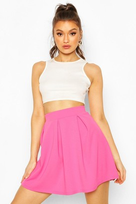 boohoo Crepe Box Pleat Skater Skirt