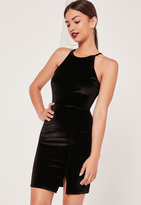 Missguided 90's Neck Split Hem Velvet Bodycon Dress Black