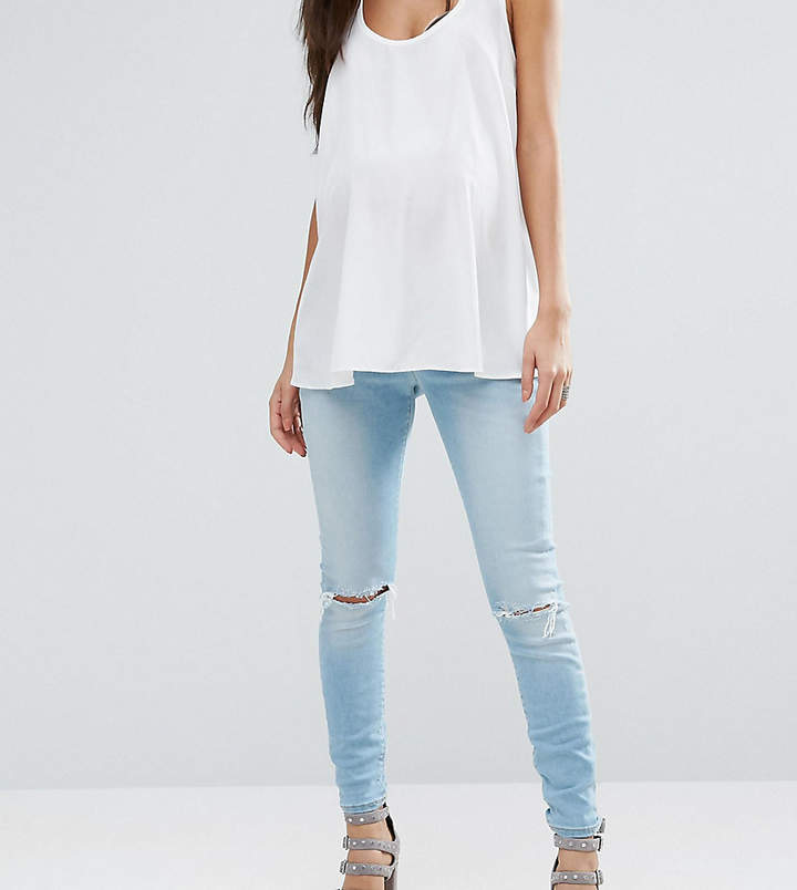 Asos Ridley Skinny Jeans in Felix Midwash with Busted Knees and Chewed Hems With Under the Bump Waistband
