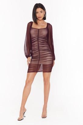 Nasty Gal Womens A Little Mesh Conversation Ruched Mini Dress - Plum