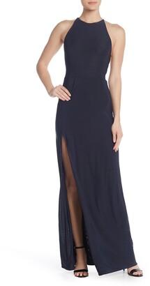Love by Design Slinky Strappy High Slit Long Dress