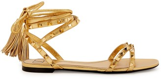 Valentino Rockstud Flair gold leather sandals