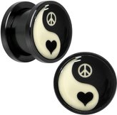 Body Candy Black Anodized Steel Glow in the Dark Yin Yang Heart Screw Fit Plug Pair 1/2""