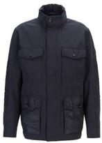 HUGO BOSS - Water Repellent Field Jacket With Packable Hood - Dark Blue