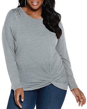Belldini Plus Lace-Up Shoulder Twist Hem Top