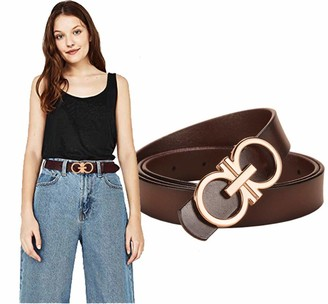 Longwu 100% Italian Genuine Cowhide Leather Jeans Belt with Double O-Ring Buckle Packed in a Gift Box Coffee-2.8cm-105cm